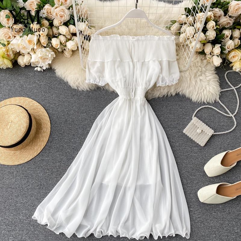YuooMuoo 2020 Women Summer Dress Fashion White Off Shoulder Chiffon Dress Solid Vestidos Short Puff Sleeve Ruffles Holiday Dress