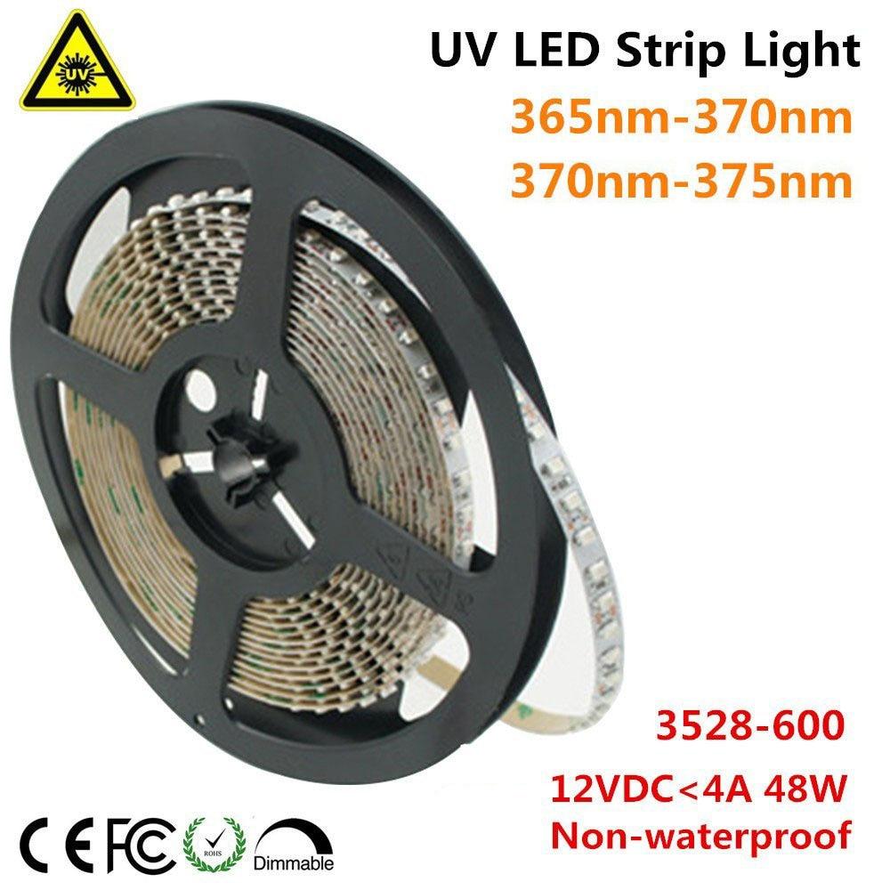 UnvarySam Ultraviolet LED Strip 365nm 370nm 375NM 380NM 385NM 5M 12V SMD3528 600LEDs UV Ultraviolet for UV Curing Metal Crack