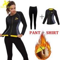 ningmi neoprene body shaper warming sweater shirt legging sauna suit women control panties waist trainer shapewear sports set