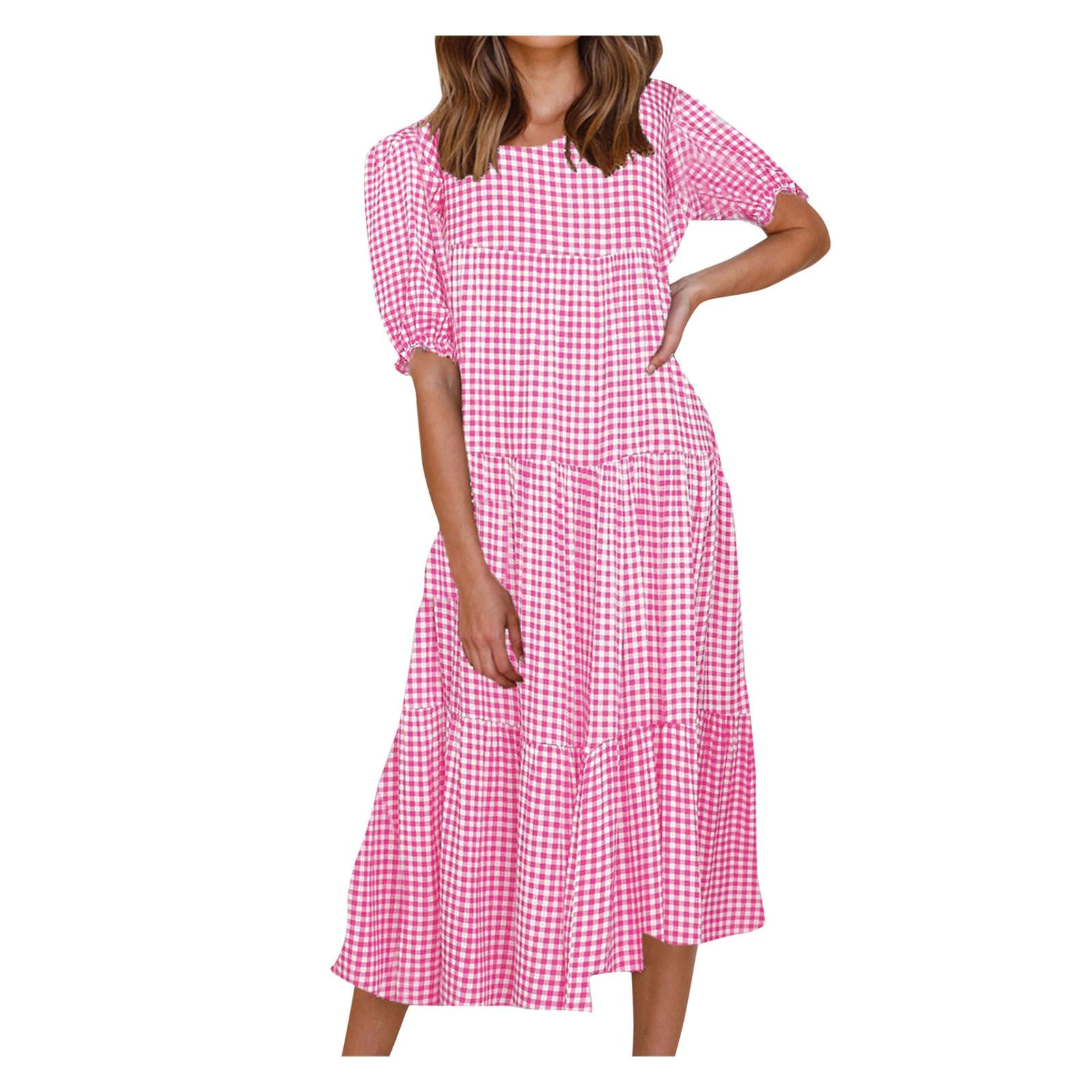 SAGACE Ladies sexy puff sleeve plaid stitching loose dress Women Sexy Bubble Sleeve plaid printed patchwork Loose Skirt Dress