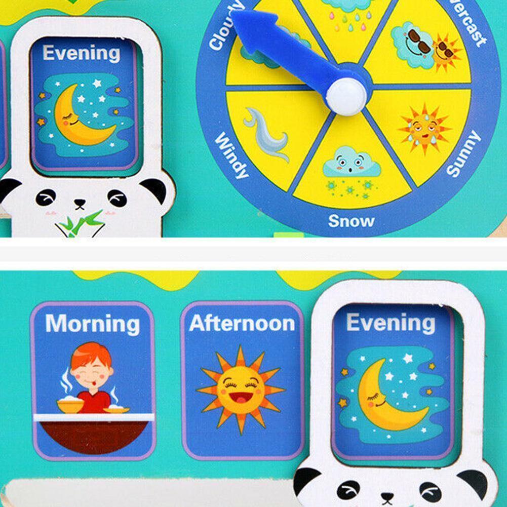 Montessori Wooden Toys Baby Weather Season Calendar Teaching Puzzle Preschool Educational Cognition Kids Aids Clock