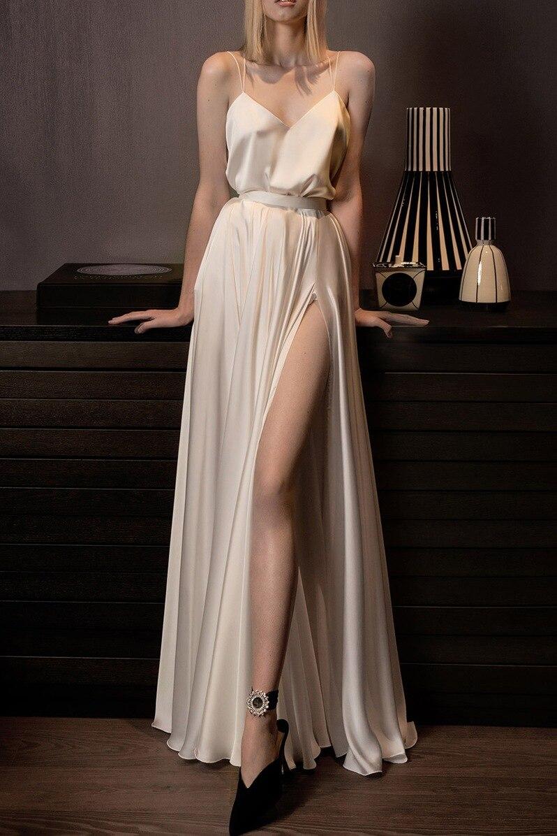 فستان سهرة طويل لامع ، فستان حفلات ، مثير ، شق عالي ، لون شامبانيا ، أحزمة سباغيتي ، مجموعة جديدة 2020
