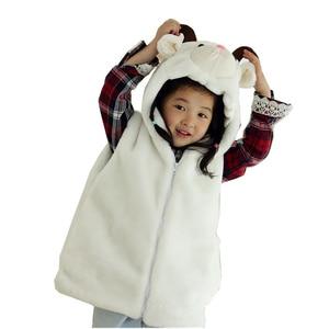 DOUBCHOW Animal Vest Unisex Children's Cartoon White Winter Sheep Hooded Kids Plush Outwear Coat Fleece Inside Costume Clothing