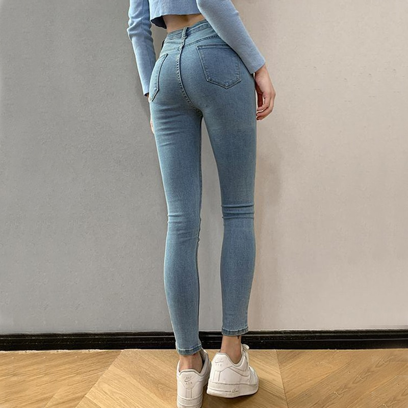 Женские узкие эластичные джинсы для девочек-подростков, узкие женские джинсовые брюки-карандаш с высокой талией, женские брюки разных разм...