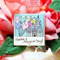 haring a magical day hard enamel pin romantic balloon castle golden brooch accessories fashion lapel backpack pins jewelry