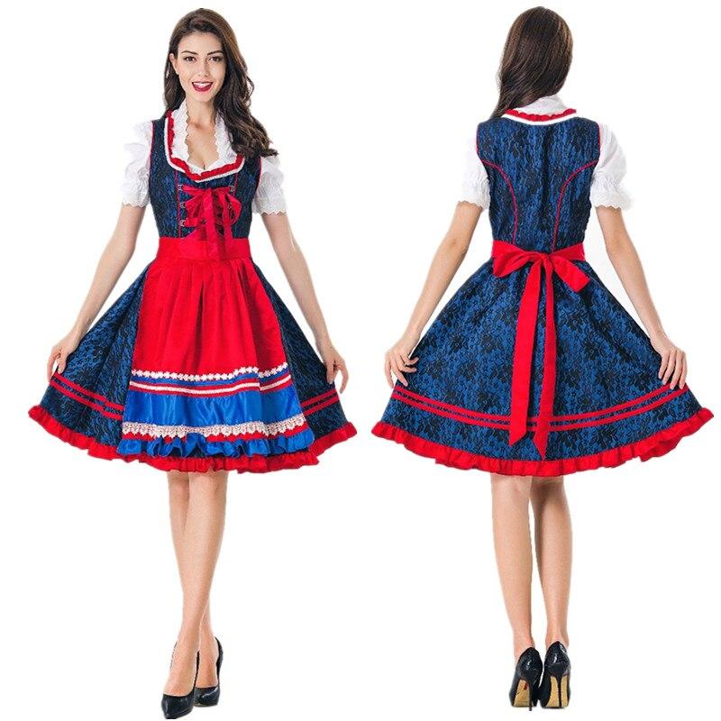 Disfraz para mujeres adultas Oktoberfest Bavaria vestido de cerveza para niñas Dirndl alemán para damas de cerveza