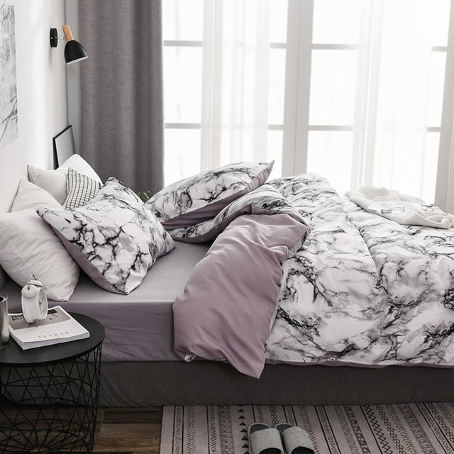 The Bedroom Bedding Is A Comfortable White Marble Pattern Printed Duvet Cover (2/3 Piece Set), Single And Double Super Large 6