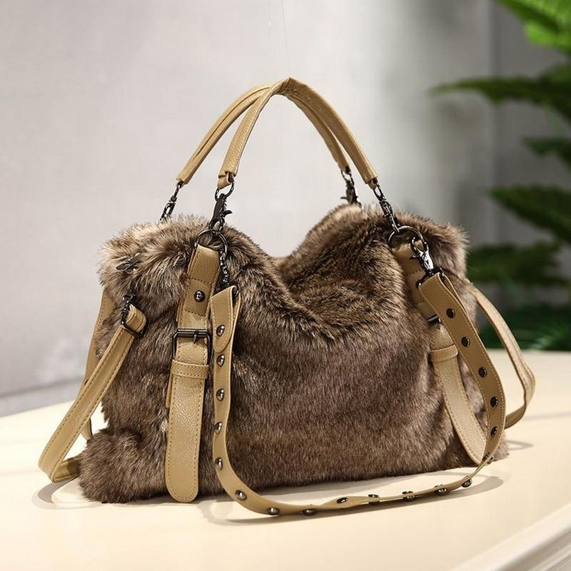 BelaBolso Fashion Faux Fur Handbag Women Shoulder Bags Large Luxury Design Totes Bags Female New Winter Bags Ladies 2020 HMB706