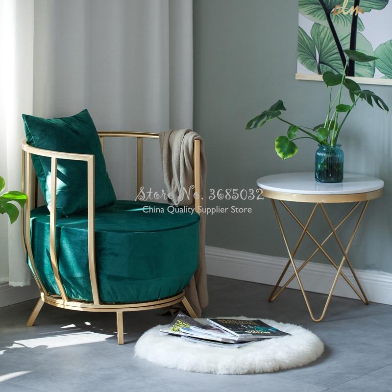 Simple Moderno marco DE ORO Silla de lujo Fashion Queen princesa esponja sofá con franela acolchado cojín de IronTable