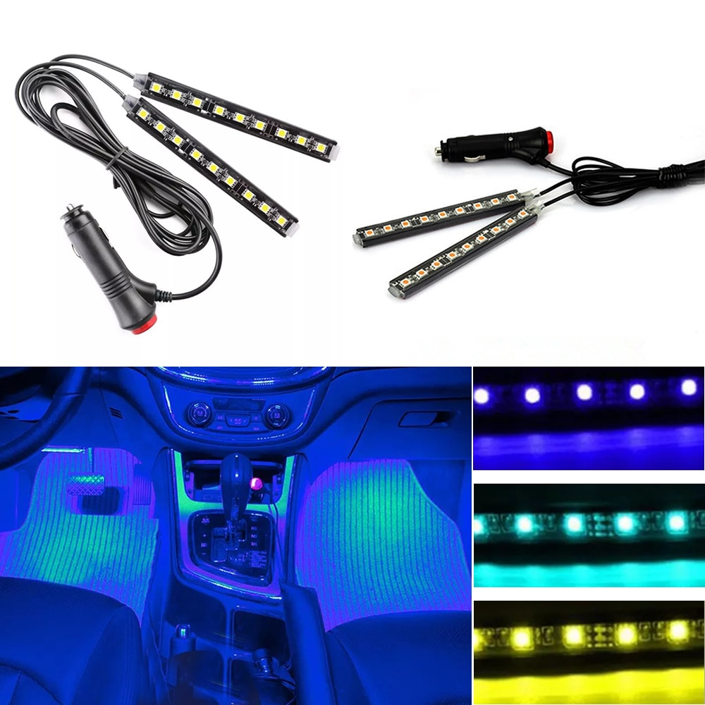 Разноцветная Автомобильная 9 светодиодный 2 в 1 интерьерные атмосферные огни тире напольная полоска света прикуриватель адаптер декоративная лампа