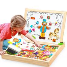 Jeu de puzzle magnétique en bois Montessori jouet éducatif cadeau 100 + pcs enfants animaux magnétiques Puzzles cirque planche à dessin