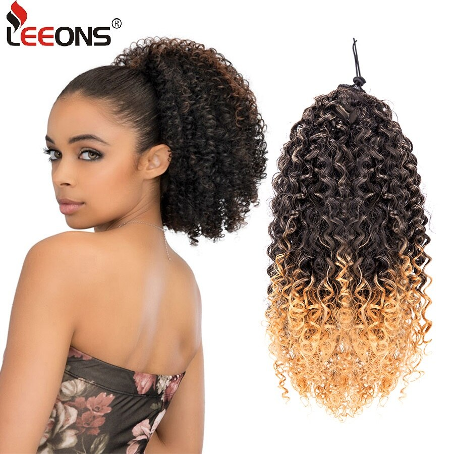 Leeons Curly Ponytail Afro Kinky Curly Drawstring Ponytail Synthetic Hair Extension Clip In Hair Tail Hairpieces Wig Pony Tail