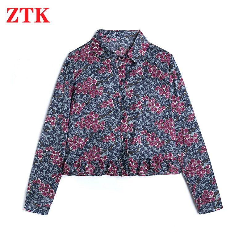 ZTK Women Blouse 2021 New Za Spring Fashion Floral Print Chiffon Long Sleeve Shirt Bohemian Holiday Purple Top