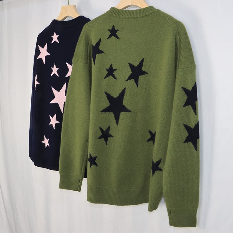 2021 Early Autumn New Round Collar Long-sleeved Star Pattern Warm Fashionable Cashmere Knitted Shirt Girl enlarge