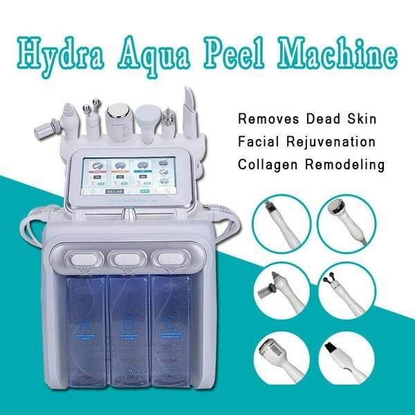 H2o2 6 في 1 الهيدروليكية الهيدروجين الأكسجين Hydrofacial جهاز تقشير الجلد الوجه قشر الجلد الغسيل الجمال آلة المطهر العميق