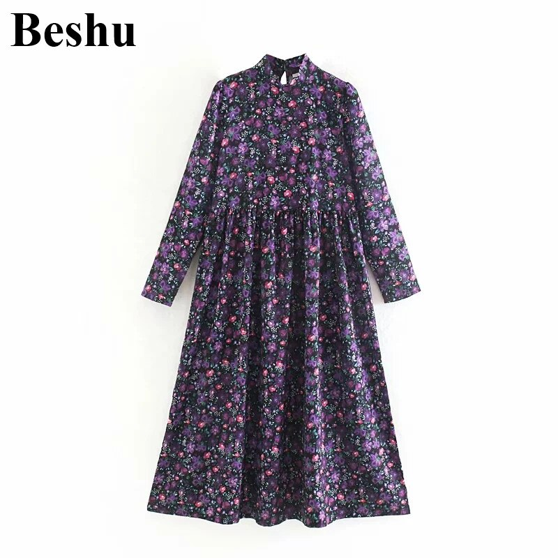 Fashion ZA dress purple chic floral print dress stand collar loose chiffon midi female dress