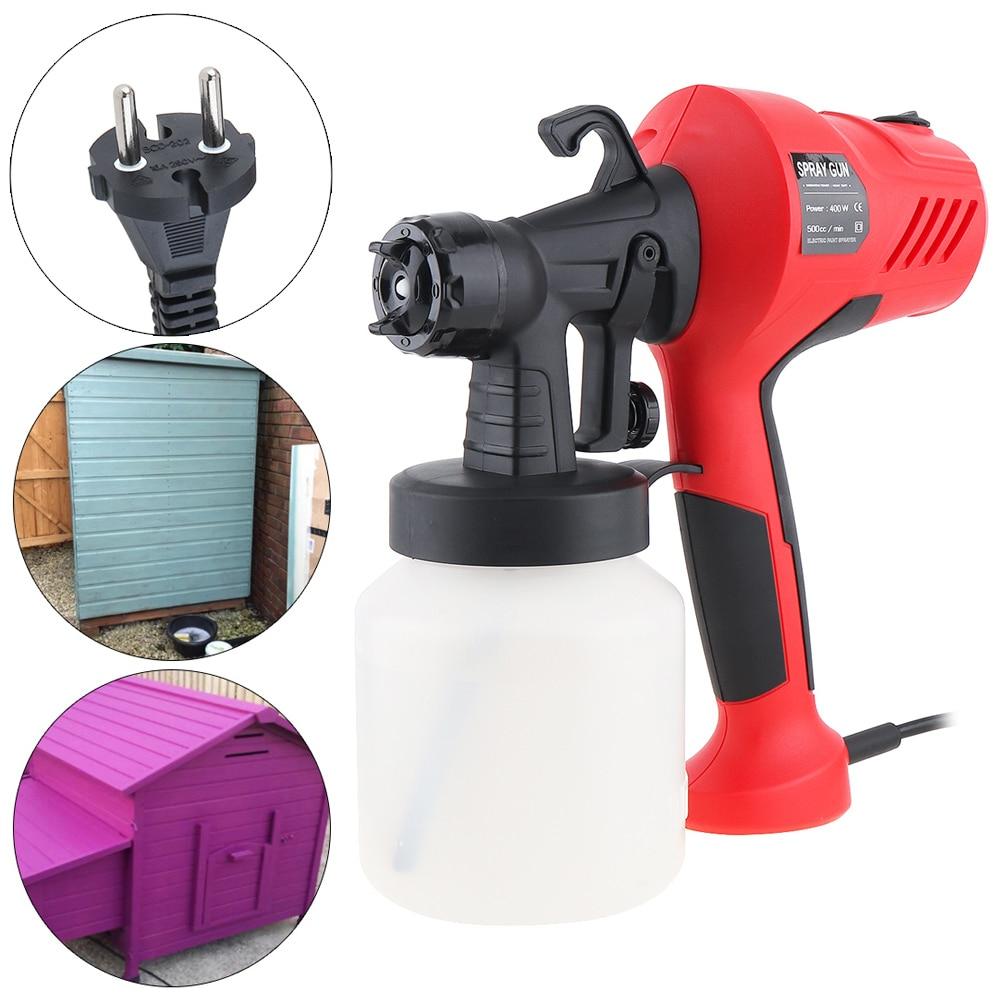 110V / 220V 400W 800ML Portable Electric Paint Sprayer High Pressure Automatic Spray Gun with 2.5mm Nozzle Caliber Plastic Pot