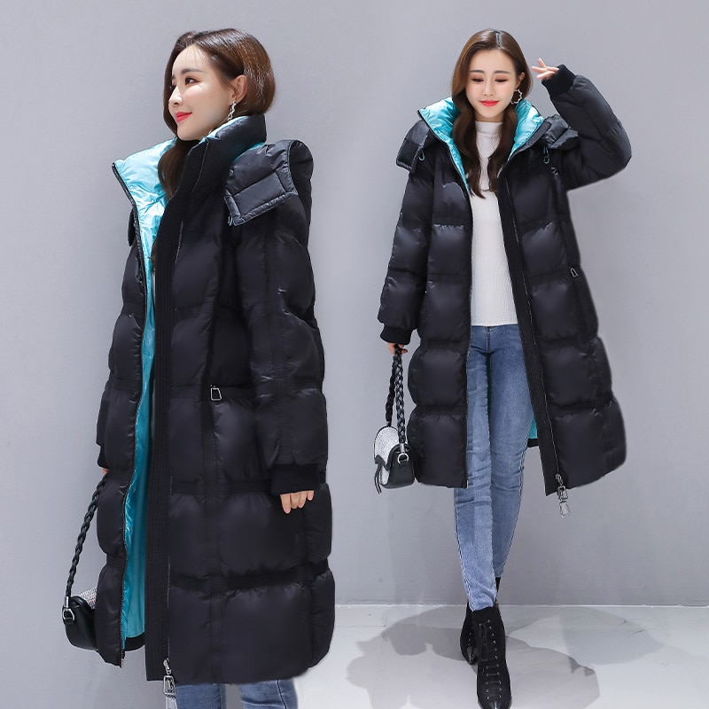 Popular down jacket women's new winter wear color contrast fashion large size thickened loose knee white down jacket 11254