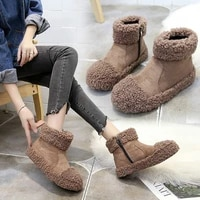 winter the new lambswool snow boots women ankle zip round toe low 1cm 3cm flat with plush solid flock thick bottom keep warm