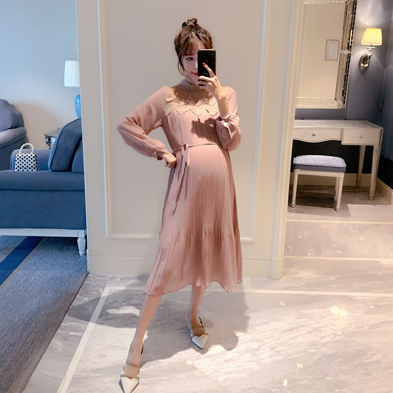 lace Design Chiffon Dresses Maternity Clothes For Pregnant Women Long Sleeve Pleated Dresses Pregnancy Maternity Vestido ZH022 enlarge