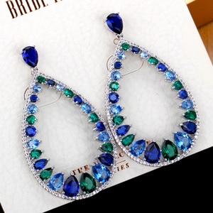 TIRIM Luxury Multi Color Cubic Zirconia Dangle Earrings for Women kolczyki сережки Bohemian Colorful Crystal серьги 2020 тренд