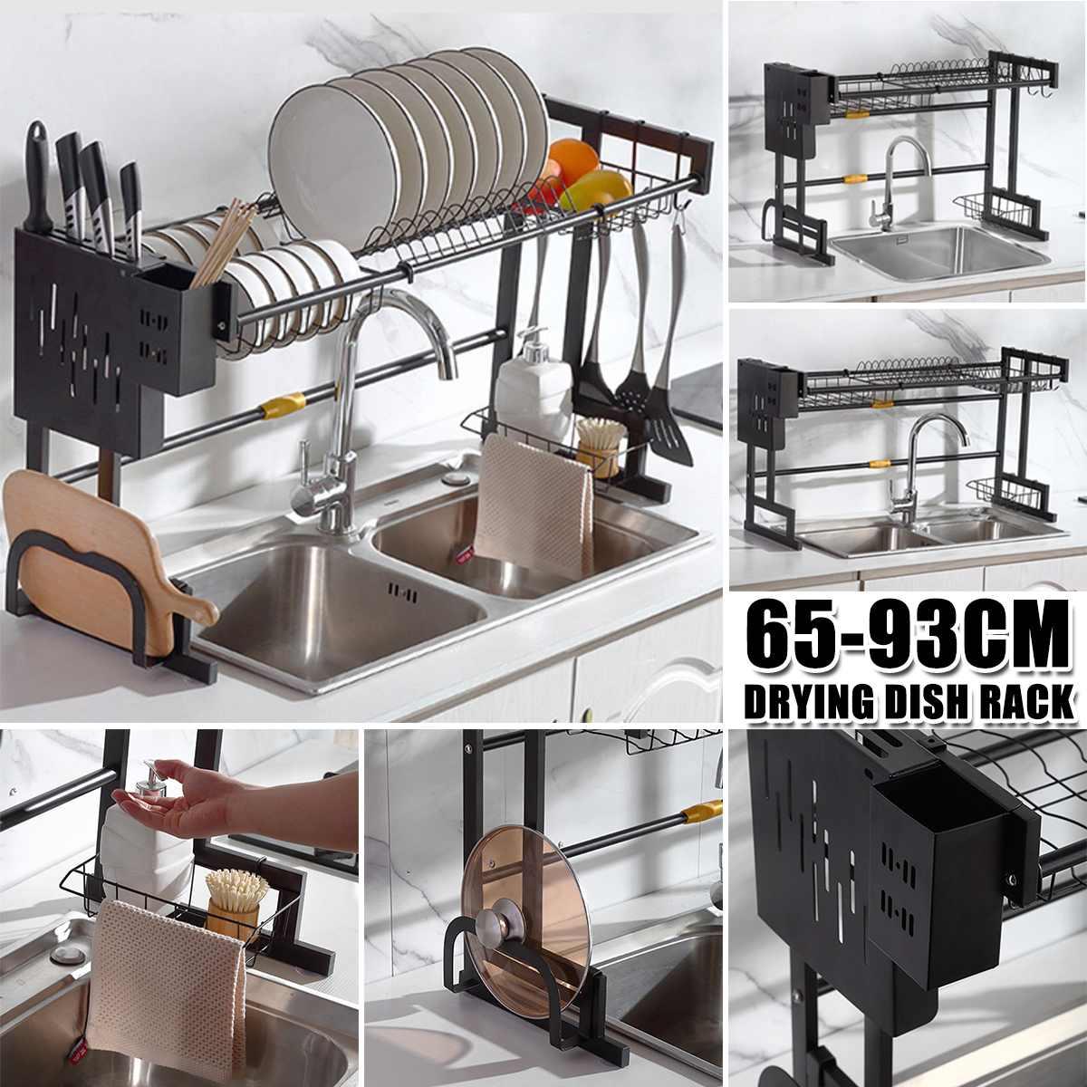 2 نوع الفولاذ المقاوم للصدأ المطبخ الرف المنظم أطباق تجفيف رف على بالوعة استنزاف رف المطبخ تخزين كونترتوب أواني حامل