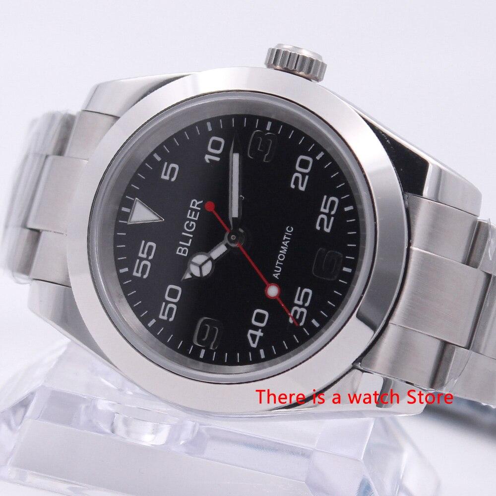 Bliger 40mm mecánico automático reloj de lujo para hombres luminoso impermeable de cristal de zafiro de acero inoxidable de los hombres