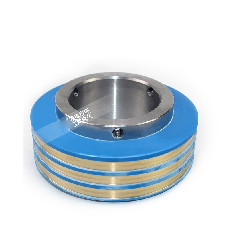 Anillo colector del generador resistente al desgaste anillo de cobre conductor giratorio de 3 vías de conexión de cepillo de carbón tipo anillo deslizante conductor