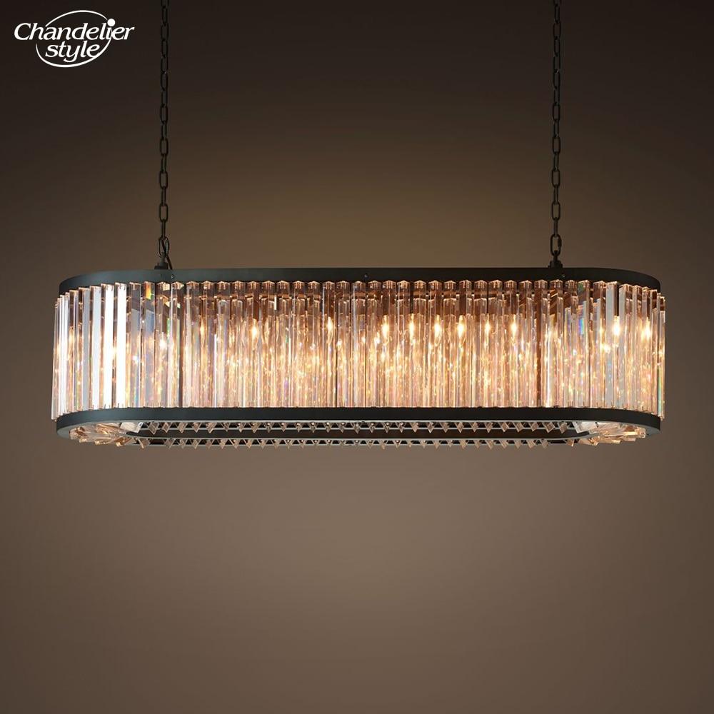 ويلز واضح كريستال مستطيلة أضواء الثريا الحديثة البيضاوي كريستال مصباح نجف الشمال LED الثريا شنقا ضوء