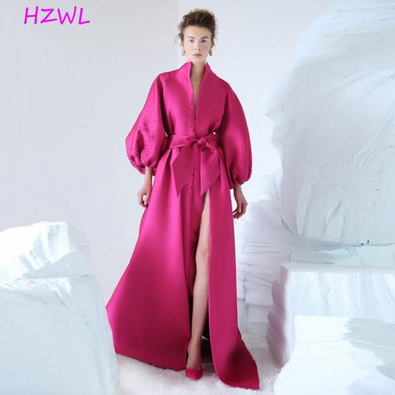 فستان سهرة فوشيا 2020-2021 ، فستان سهرة بأكمام منتفخة ، مع فيونكة ، موضة رسمية