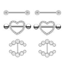 1/2pcs Zircon Crystal Nipple Piercing Bar Set Tongue Piercing Barbell Bulk Nipple Rings Jewelry Lot