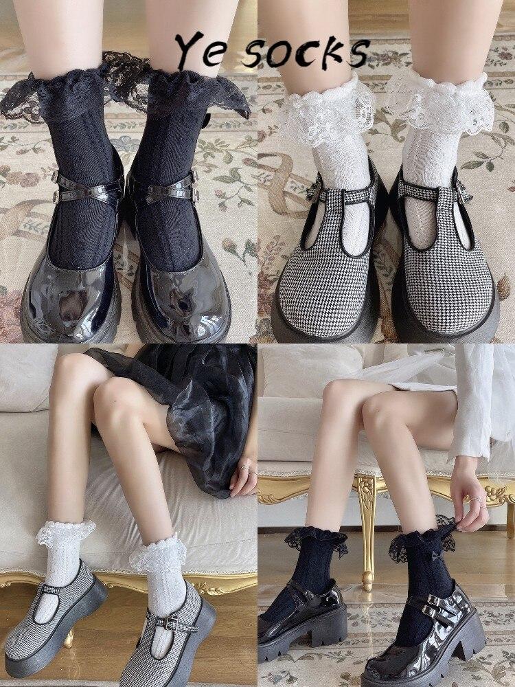 fishnet ankle socks 2021 New Sexy Lace Floral Socks Women lolita  Socks Lace Ruffle Soft Pleats Elastic Fishnet Short Ankle Socks