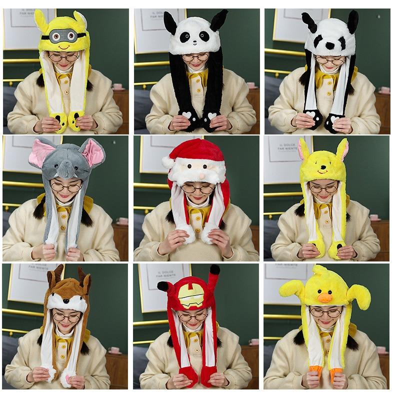 Sombrero de conejo de dibujos animados, Gorro con orejas en movimiento, bonito sombrero de juguete de dibujos animados, Airbag Kawaii, divertida gorra de juguete, juguete de felpa para niños, regalo de cumpleaños, sombrero para niñas, regalo