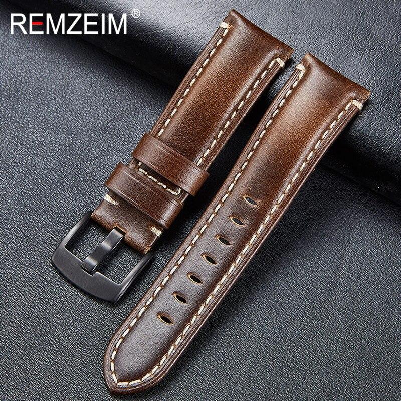 Correa de cuero REMZEIM 20 22 24 26MM, correa de reloj de piel auténtica Vintage marrón y verde con hebilla de plata negra, correa de reloj