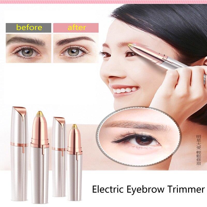 Mini recortador eléctrico de cejas, lápiz labial, lápiz Depilador, removedor de pelo, afeitadora de cejas, indoloro, multifunción, luz LED, moldeador de cejas