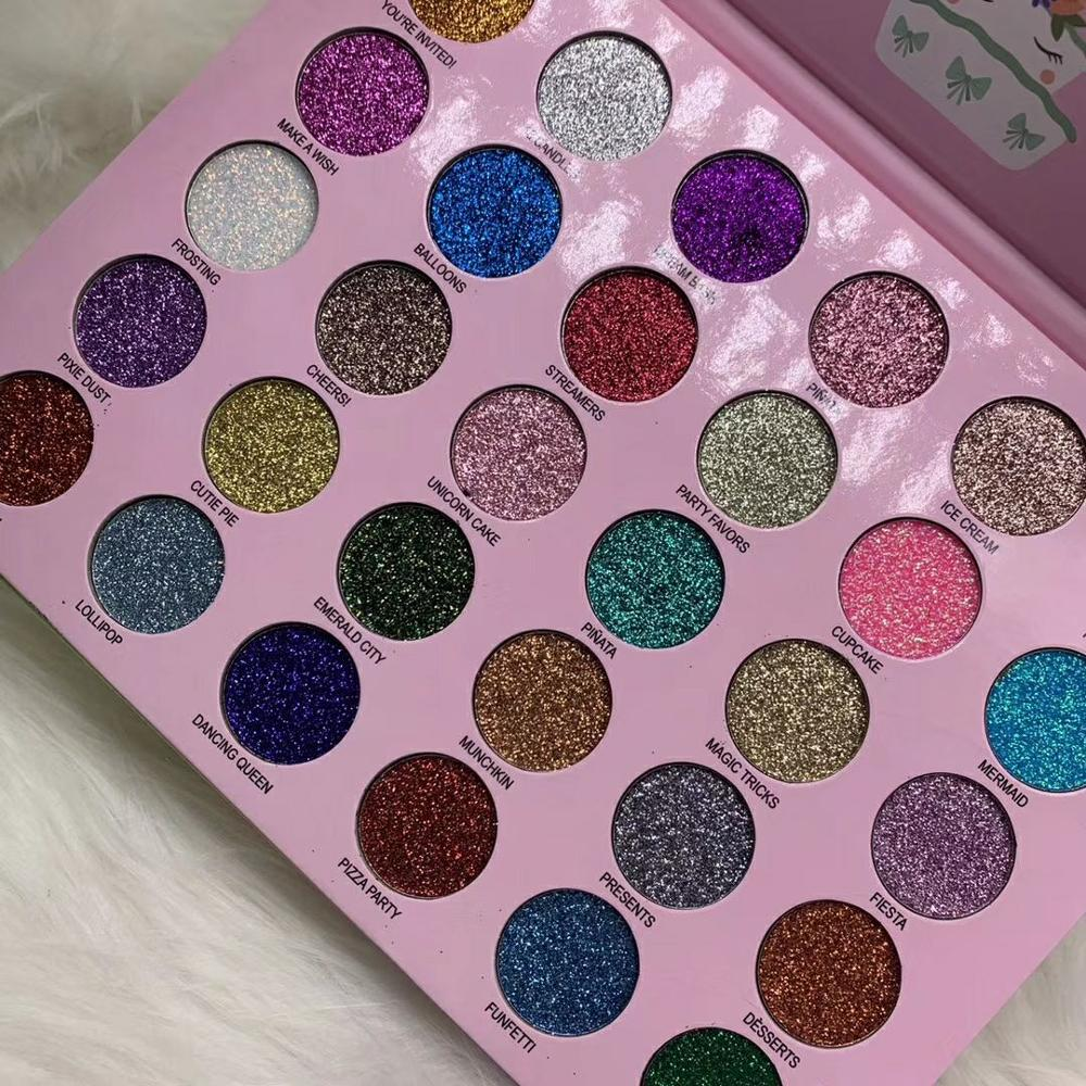 Waterproof long-lasting Eye shadow makeup 30 glitter pressed powder palette happy unicorn glitter party eye cosmetics 48pcs/lot