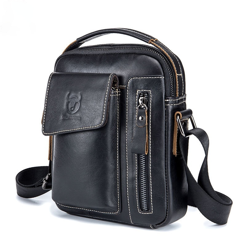 2018 new 100% genuine real crocodile leather head skin men shoulder cross body bag with top handle zippers closure brown black 2021 First Layer Cow Leather Men Genuine Leather Shoulder Bags Messenger Bag Men's Soft Vertical Cross Body Top Handle Handbags
