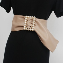 Women New Design Four Seasons Waist Cover Artificial Leather Fashion Belt Decorative Pearl Inlaid Sq