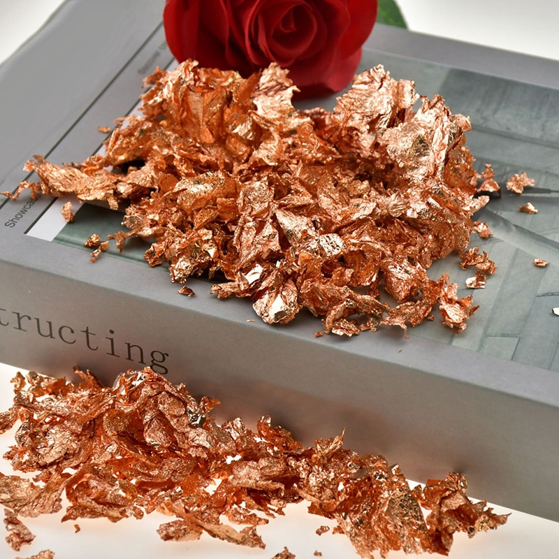 30g Imitation Gold Sliver Copper Foil Sequins Glitters Craft Leaf Flake Sheets Bulk Foil Paper For Gilding DIY Nail Art Decor