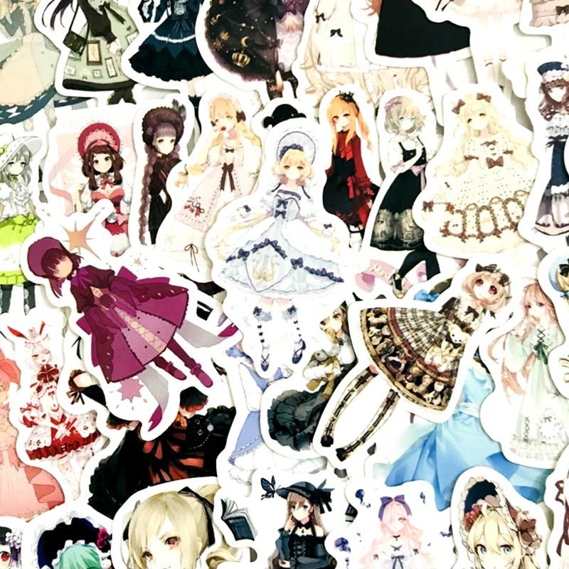 42 Piezas Sen chica gótica Lolita chica etiqueta folleto juguetes etiqueta para equipaje Snowboard del refrigerador del coche de coche-estilo portátil pegatinas F3
