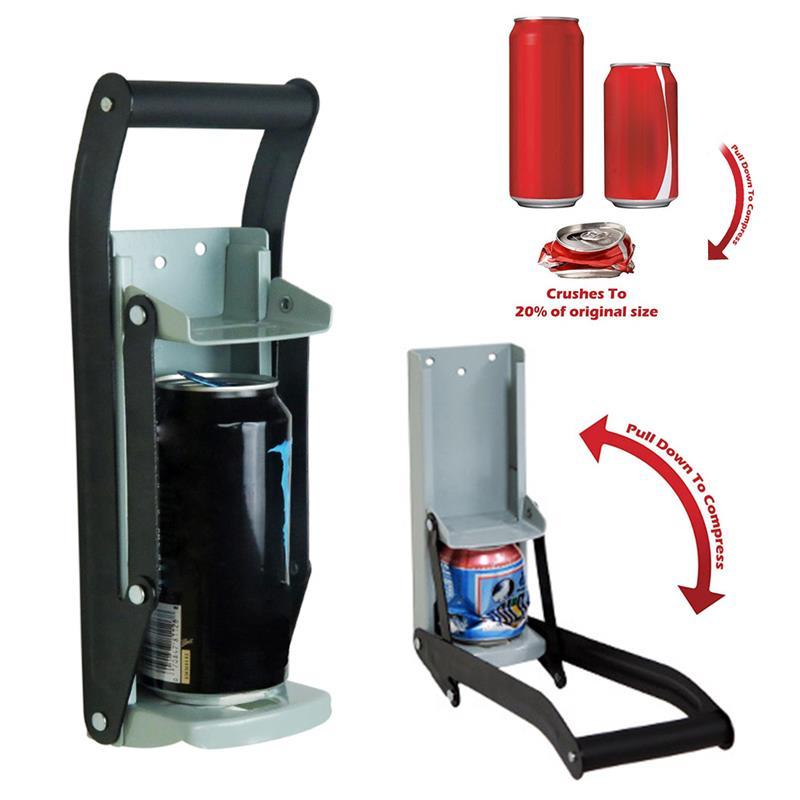 Trituradora de latas de cerveza de alta resistencia de 16oz para trituradora de reciclaje para latas de cerveza de Soda de aluminio selladora y herramientas de trituración de botellas montada en la pared