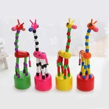 Jirafa juguete divertido juguetes de madera desarrollo baile de pie mecedora jirafa Animal hecho a mano juguetes de inteligencia para niños regalo