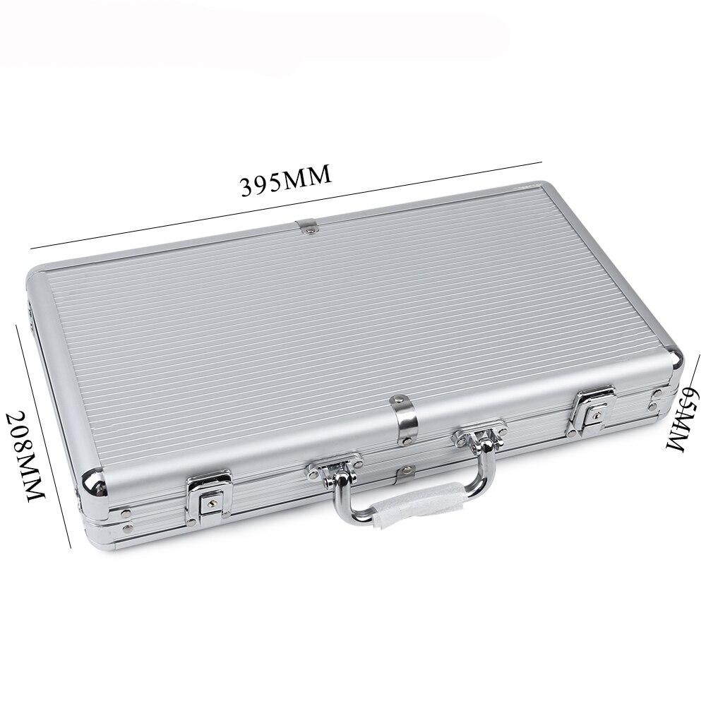 July DOSAC, gran capacidad, raya plateada, caja de fichas de aluminio, Maleta de naipes, estera antideslizante, equipaje portátil