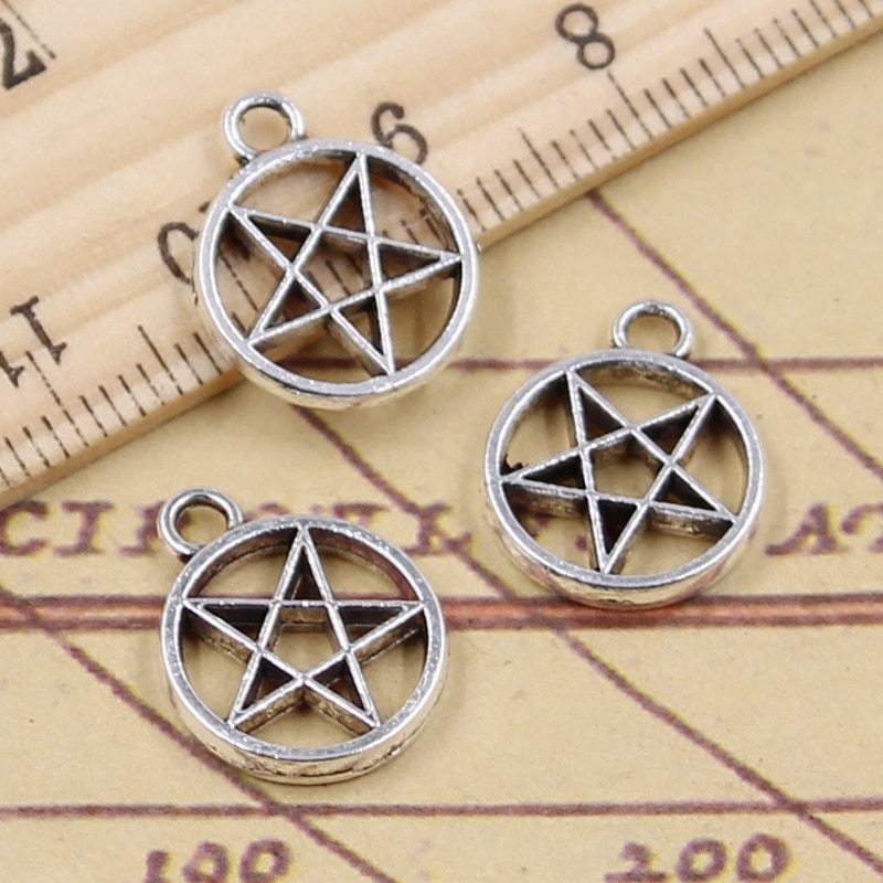10pcs Charms Star Pentagram 17x14mm Tibetan Silver Color Pendants Antique Jewelry Making DIY Handmade Craft