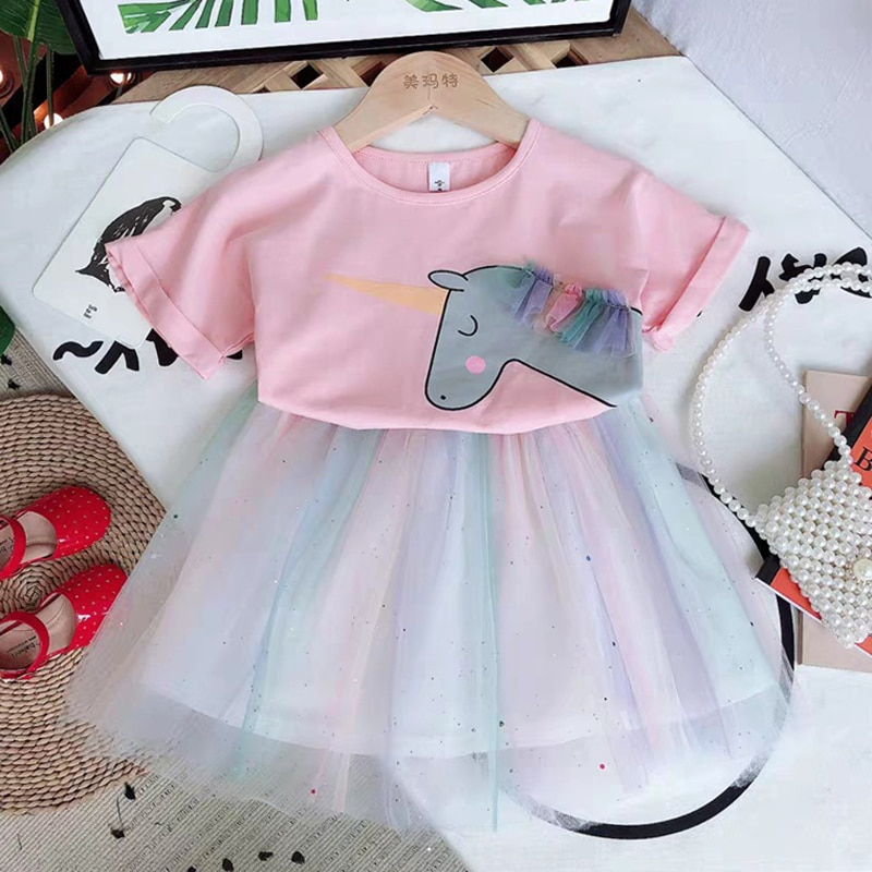 2 Colors Cute Cartoon Unicorn Girls Skirt Suit Cotton T-shirt Top+Skirt 2Pcs Outfits Summer Girl Clothing Sets Baby Girl Clothes