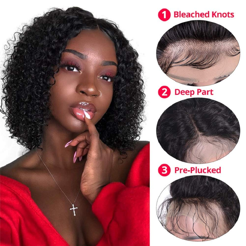 Brazilian Kinky Curly Wig Human Hair Wigs for black Women Remy 4x4 lace closure Pre Plucked with Baby Hair
