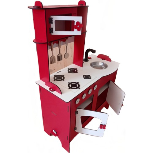 Wooden Toy Set Kitchen Red color cabinet with four stove shelf