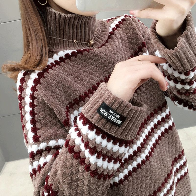 Autumn winter 2020 new high collar chenille cocoon Pullover for women enlarge