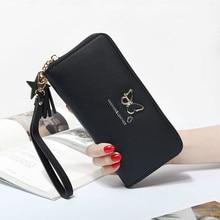 Fashion Butterfly Women Wallet Wrist Handle Phone Case Long Section Money Pocket Pouch Handbag Women's Purse Card Holders 2020