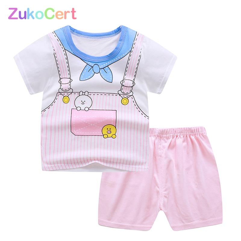 ZukoCert summer boy girls set clothes cotton baby children soft shorts  T-shirt toddler  fashion cartoon cute clothes 1-5 years